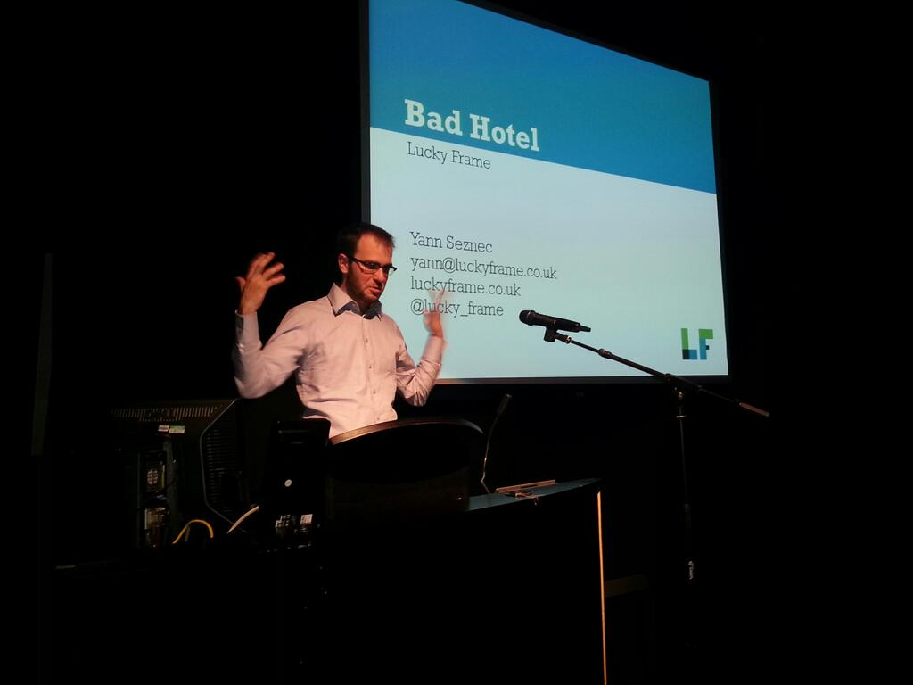 Yann Seznec presenting his post-mortem of Bad Hotel